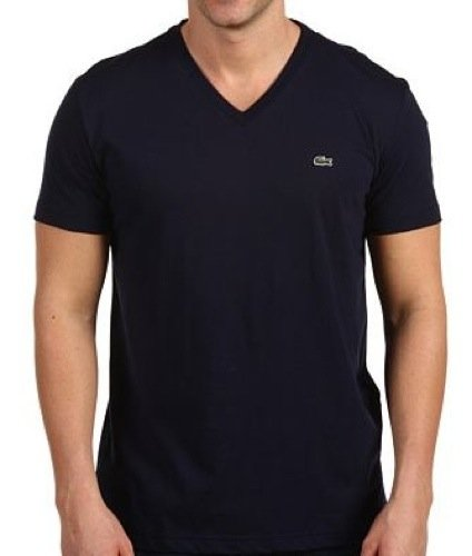 Lacoste Men's Short Sleeve V-Neck Pima Cotton T-Shirt Navy Blue-Medium