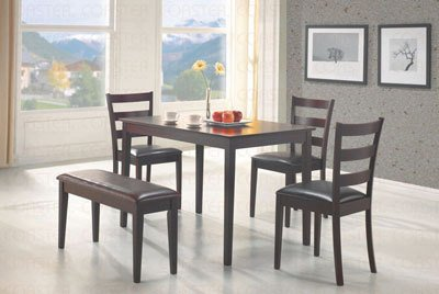 5pc Dining Table, Chairs & Bench Set Cappuccino Finish