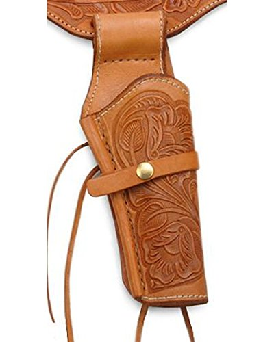 Western Express Unisex .45 Caliber Hand Tooled Leather Single-Gun Belt And Brown 44 by Western Express