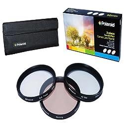 Polaroid Optics 55mm 3 Piece Special Effect Camera/Camcorder Lens Filter Kit (Soft Focus Revolving 4 Point Star Warming)
