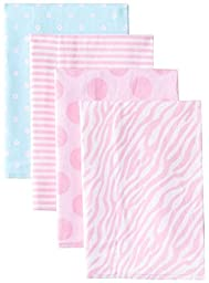 Gerber Baby Girls\' 4 Pack Flannel Burp Cloths, Zebra, One Size