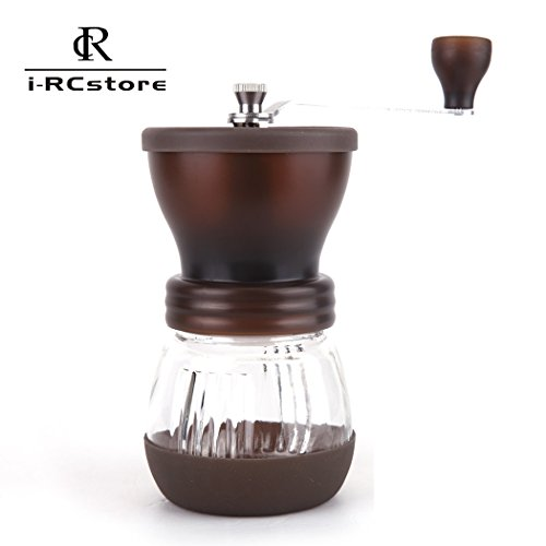 RC Manual Ceramic Burr Coffee Grinder Hand-crank Coffee Mill, Pot Capacity 120g (Brown)