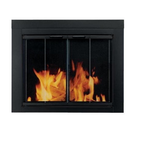 Read About Pleasant Hearth AT-1002 Ascot Fireplace Glass Door, Black, Large