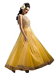 Justkartit Women's Fully Stitched Yellow Colour Net Gown / Stitched Wedding Wear Gown / Readymade Party Wear Gown / Stitched Designer Gown (Ready to Wear Collection)