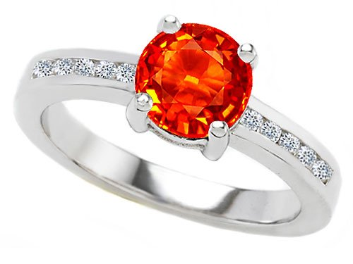 Original Star K Simulated Mexican Fire Opal Round Engagement Ring