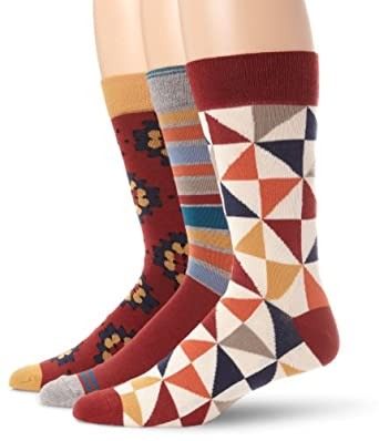 PACT Men's Heritage Crew Sock, Multi Colored, One Size