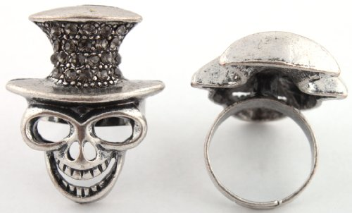 Ladies Black Skeleton Monkey Adjustable Finger Ring with an Iced Out Top Hat