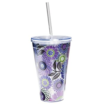 Purple Floral Double Wall Tumbler