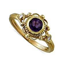 buy 14K Yellow Gold Victorian Amethyst Diamond Engagement Ring