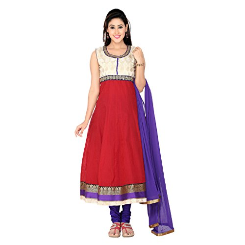 Indian Traditional Wedding Embroibered Silk Churidar Anarkali Suit with Dupatta For Women