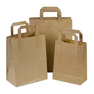 50 x Brown SOS Party Paper Carrier Bags with Flat Handles - 18cm x 23cm x 9cm (SMALL) Unipack Brand - Unibags