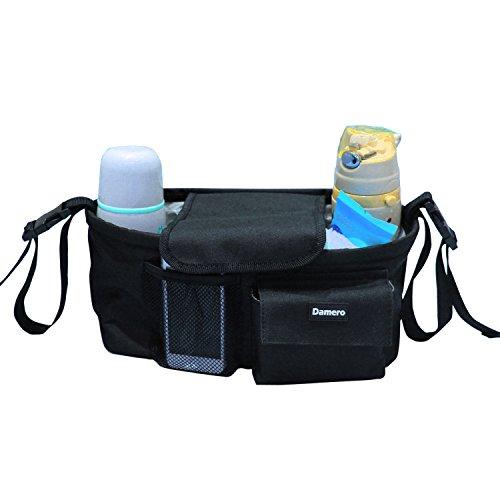 Damero Pram Buggy Buddy Stroller Organizer Storage Bag with Shoulder Strap, Great for Bike or Car Seat Organizer, Black