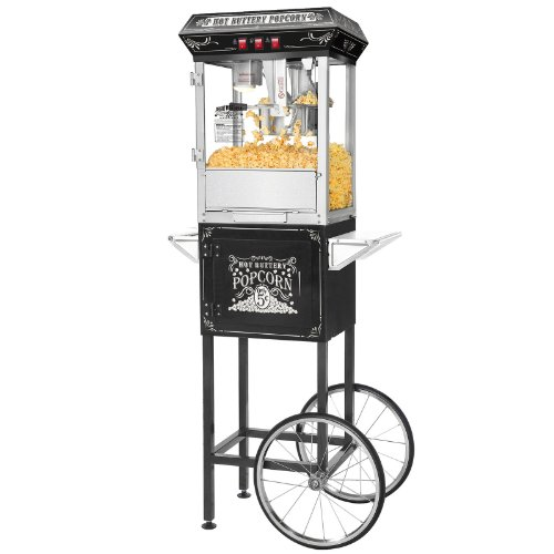 New Black Cart Popcorn Machine Popper 8 Oz Kettle For Home/ Commercial Use