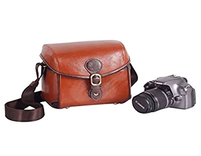 iBaste DSLR Camera Case 7'' Small Leather Camera Bag for Women Britpop Vintage Shoulder Bag Waterproof Camera Bag for Canon Sony Nikon Pentax Camera Handbag