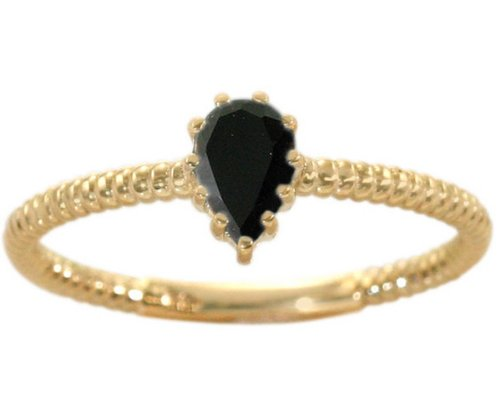 14K Yellow Gold Pear Gemstone Solitaire Stackable Ring-Black Onyx, size5