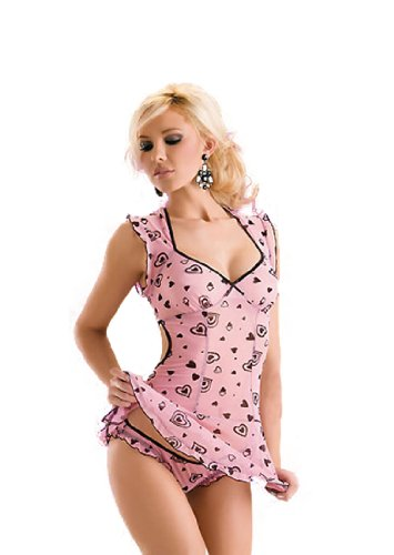 Sexy Heart print Halt-neck Corset Pink Lady's Lingerie Set
