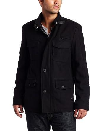 Kenneth Cole Men's Melton Fashion Field Coat, Black, Medium