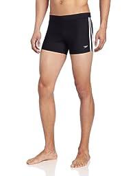 Speedo Men\'s Xtra Life Lycra Solid Striped Shoreline Square Leg Swimsuit, Navy, Small