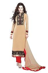 Nirali Women's Georgette Salwar Kameez Semistitched Dress Material - Free Size (Beige)