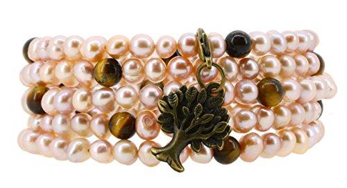 Pulsera de perlas cultivadas de agua dulce Pink Tiger Wrap Ojo Alrededor de la pulsera con un encanto (Árbol de la Vida)