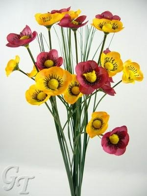 4 Artificial Silk Flower Poppy Onion Grass Sprays from GT Decorations