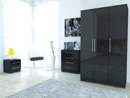 New Ontario Black High Gloss & Ash Effect Frame 3 Piece Bedroom Set Robe Chest & Bedside