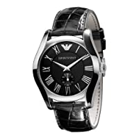 Emporio Armani Gents Black Leather Strap Watch with Black Dial