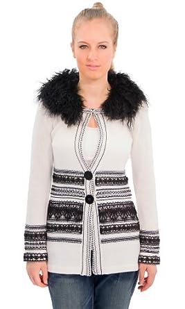 Nanette Lepore Women's Rosie Fur Collar Cardigan Coat White/Black SM