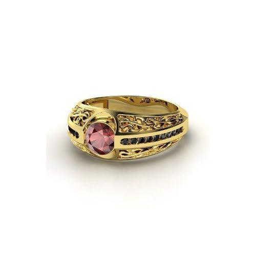 Vintage Romance Ring, Round Red Garnet 14K Yellow Gold Ring with Black