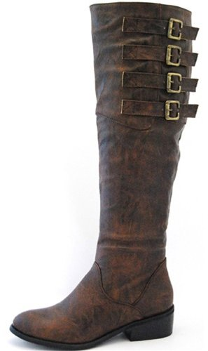 Women's Nature Breeze Berlin-22 Brown Knee High Fashion Boots Shoes, Brown, 7