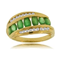 Natural Emerald Diamond Yellow Gold Ring - Channel Set