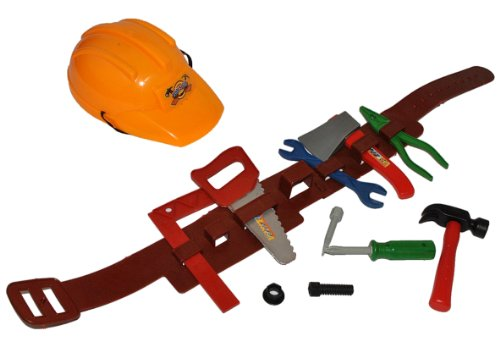 Bauhelm mit Bauarbeitergürtel und Werkzeug - für Kinder Baustellen Set Bauarbeiterhelm Hammer Schrauben Baustelle