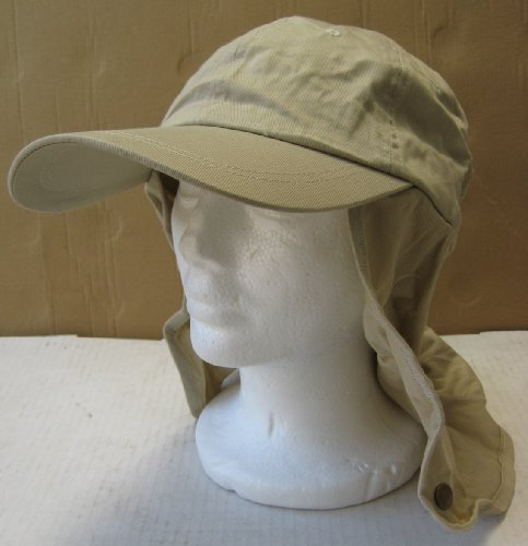 Beige Legionnaire Neck Cover Hat - Elastic Fitting - One Size Fits All - 100% Cotton - 50 UPF - Great gift for outdoor activities like snowboarding, skiing, gardening, hiking, and more - Black Friday