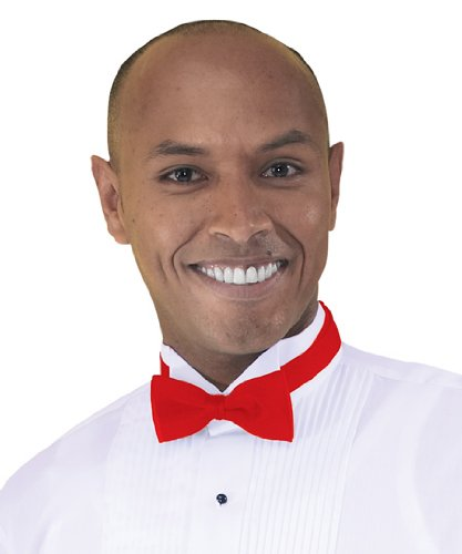 Adjustable Band Bow Ties, Red, One Size