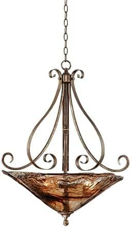 franklin iron works amber scroll 24 3 4 wide pendant. Black Bedroom Furniture Sets. Home Design Ideas