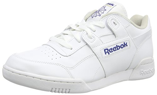 ReebokWorkout Plus - Scarpe da Ginnastica Basse uomo, Bianco (White/Royal), 44 EU