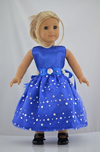 "Blue Party Dress With Bright Sequins Doll Clothes for 18"" American Girl Dolls - 1"
