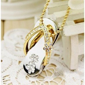 High Quality 4 GB Slipper Shape Crystal Jewelry USB Flash Memory Drive Necklace (GOLDEN) by T &  J