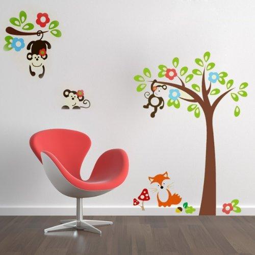 Wall Sticker Adesivo Da Parete Scimmia Albero Decorazione Casa