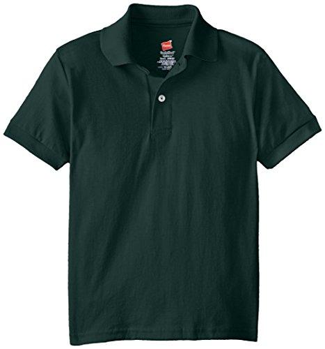 Hanes Big Boys' Short Sleeve Eco Smart Jersey Polo, Deep Forest, Medium