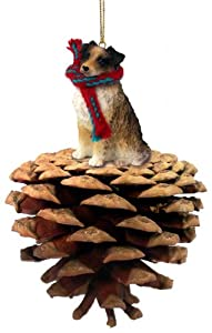 Brown Australian Shepherd Pinecone Christmas Ornament
