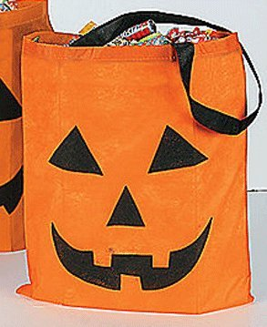Jack-O-Lantern Pumpkin Trick or Treat Candy Tote