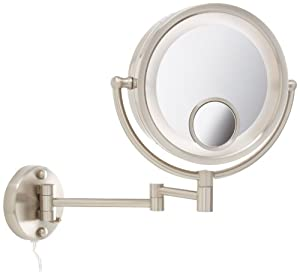 Jerdon HL8515N 8.5-Inch Two-Sided Swivel Halo Lighted Wall Mount Mirror with 7x and 15x Magnification, 13.5-Inch Extension, Nickel Finish