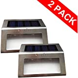 OxyLED® 2-Pack SL05 Solar Powered Low Voltage Automatic Stainless Steel Staircase LED Solar Step Lights