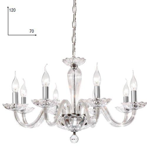 Lampadario in cristallo trasparente sospeso per arredo interno 70x120