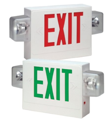Hubbell Lighting Compass Esmxwg3 Combination Led Exit Sign And Emergency Lighting Unit With Side-Mounting Heads, Green Letters