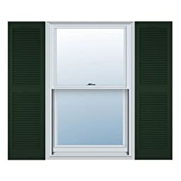 12 in. Vinyl Louvered Shutters in Midnight Green - Set of 2 (12 in. W x 1 in. D x 67 in. H (6.5 lbs.))