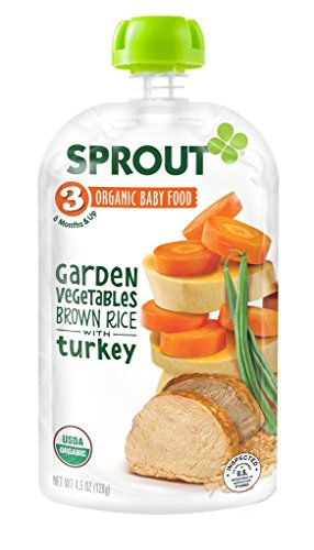 Sprout Organic Baby Food Stage 3 Pouches, Garden Vegetables Brown Rice with Turkey, 4.5 Ounce (Pack of 5)