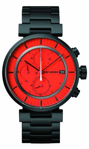 Issey Miyake SILAY005 - Reloj cronógrafo de cuarzo unisex con correa de acero inoxidable, color negro