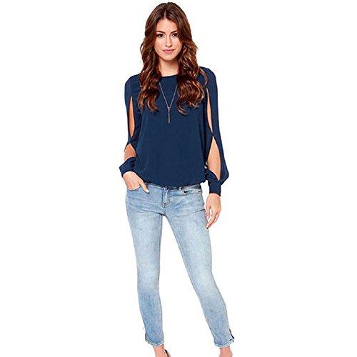 Aokdis Fashion Women Loose Sexy Long-Sleeved Chiffon Casual Blouse Shirt Tops